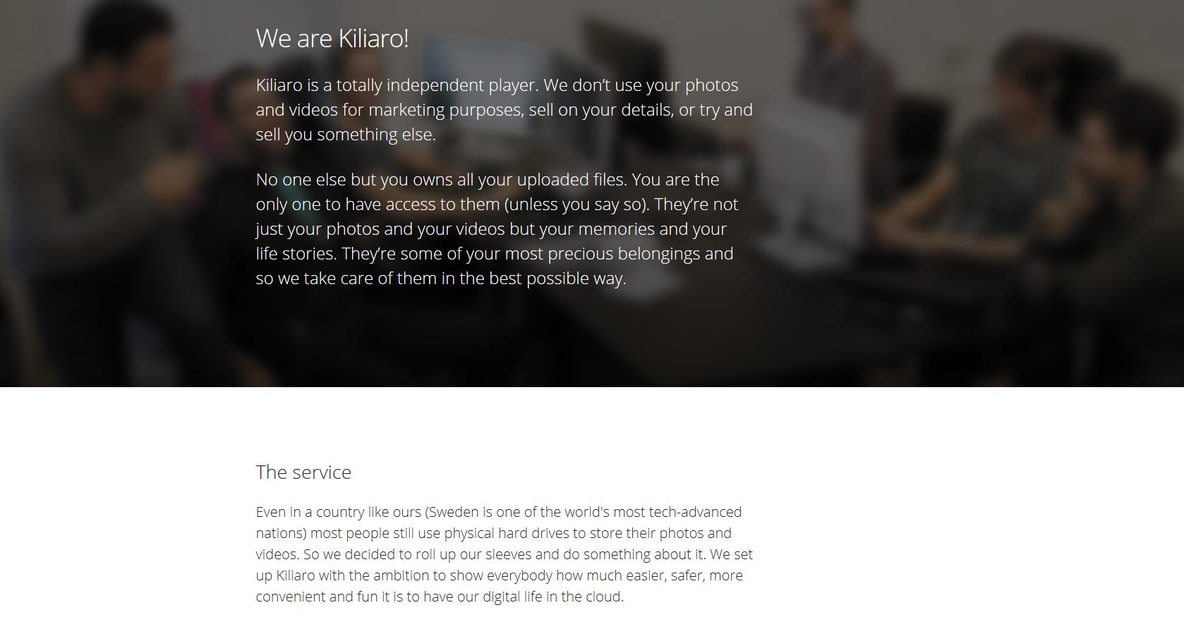 Kiliaro website homepage