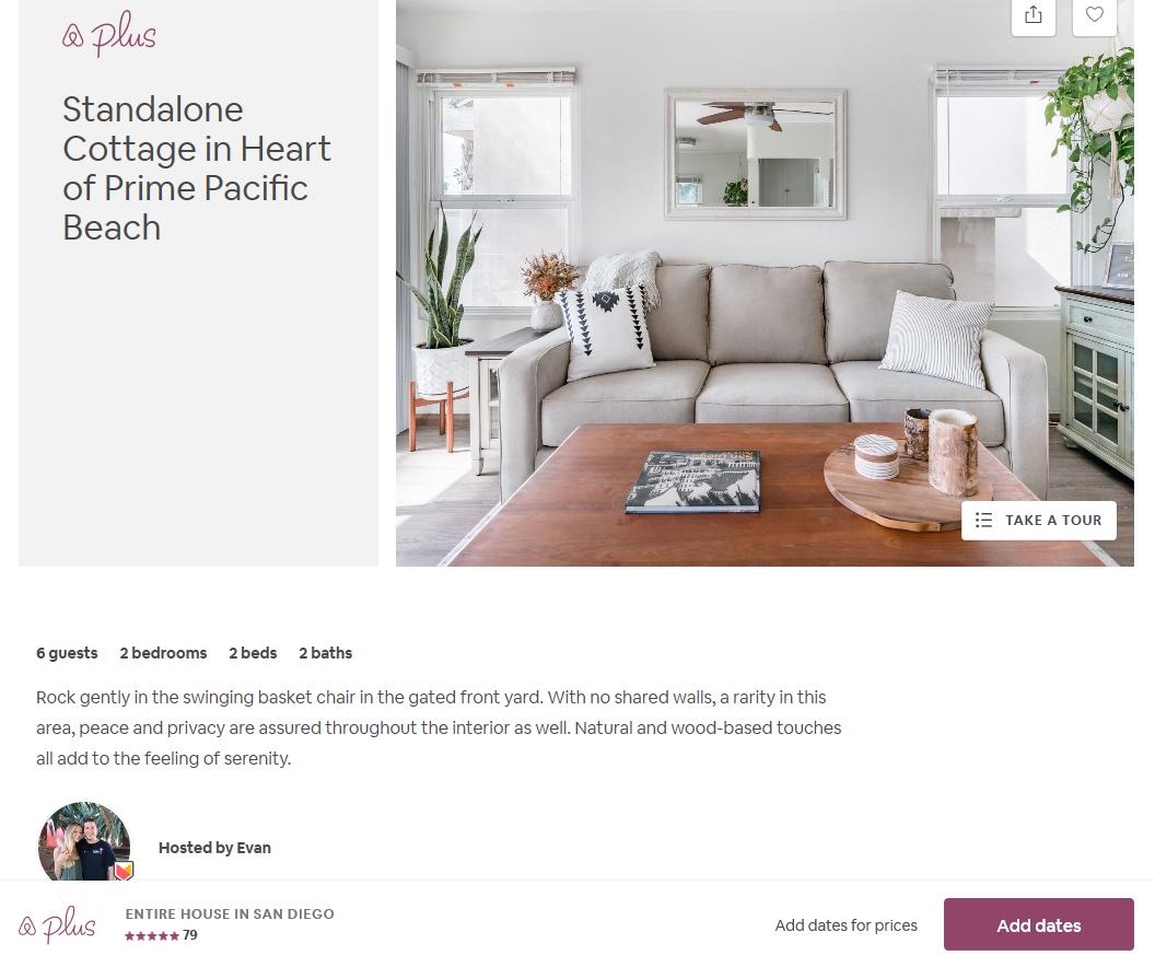 Airbnb San Diego listing