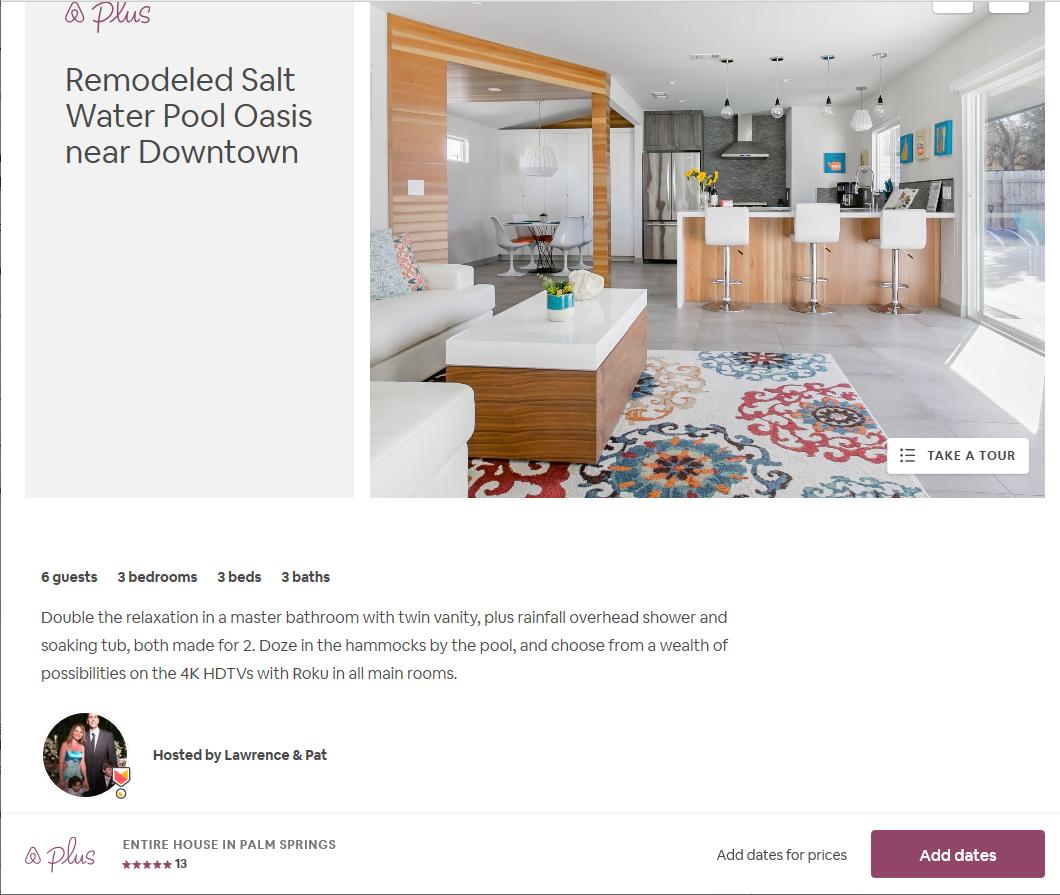 Airbnb Pam Springs listing