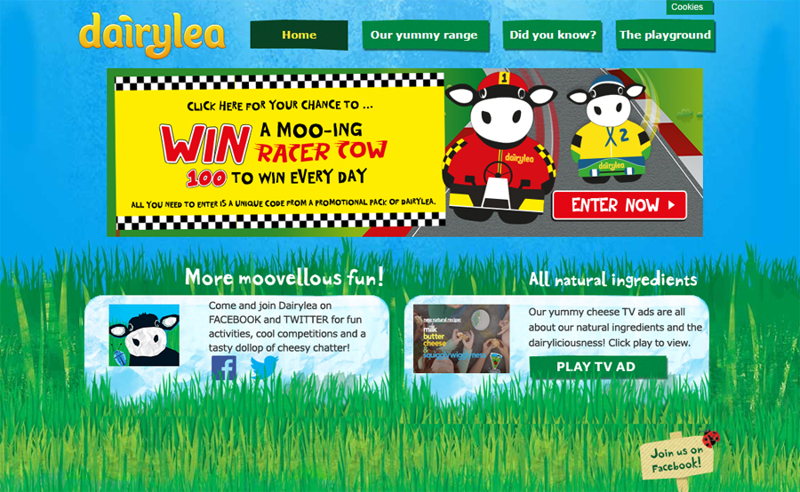 Kraft Dairylea webpage