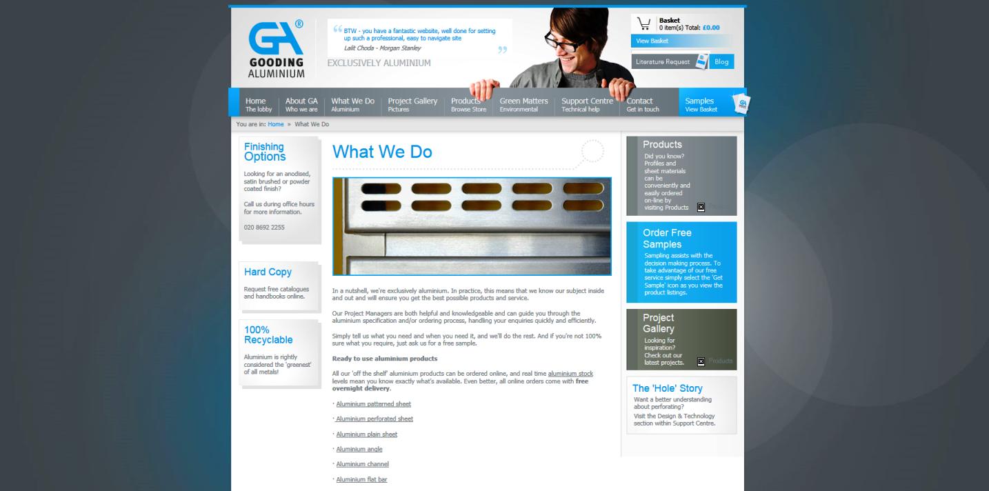 Gooding Aluminium webpage