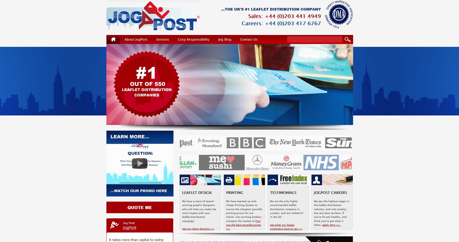 Jogpost leaflet distribution website