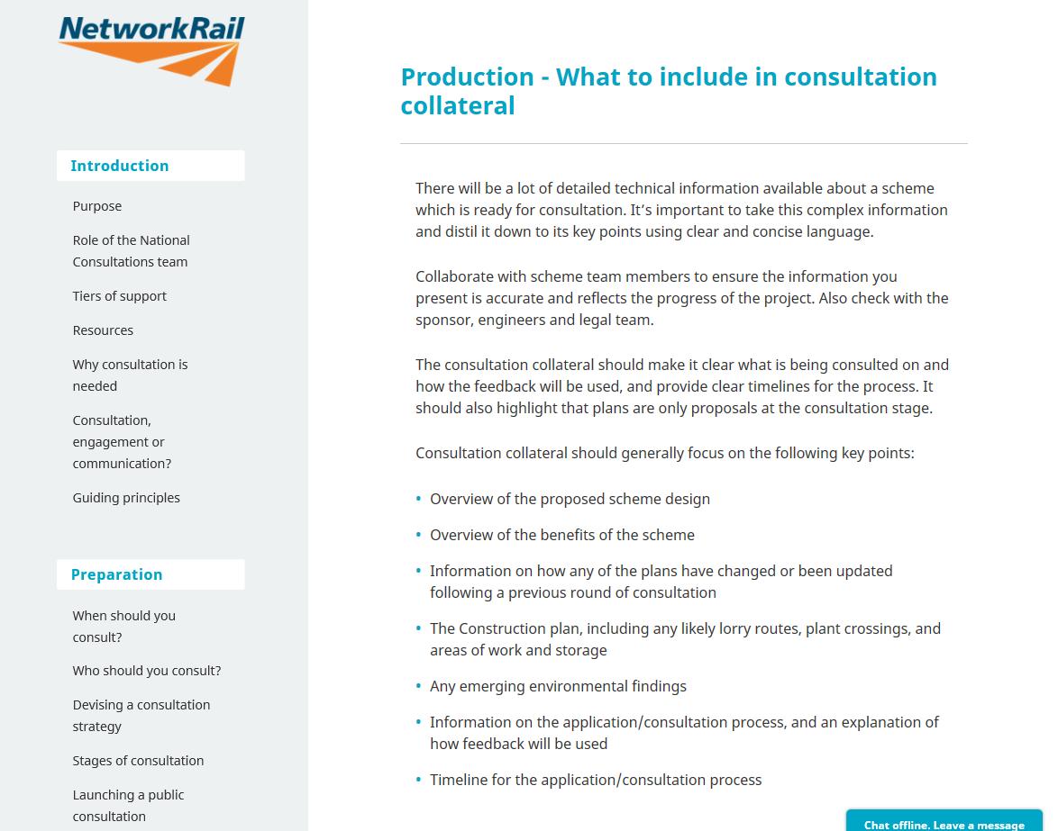 Network Rail intranet copy