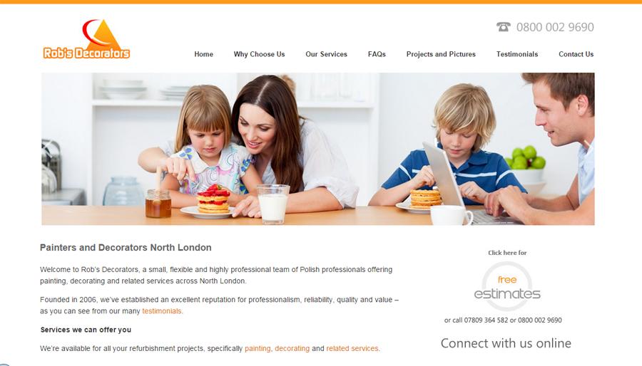 Website homepage of Rob's Decorators