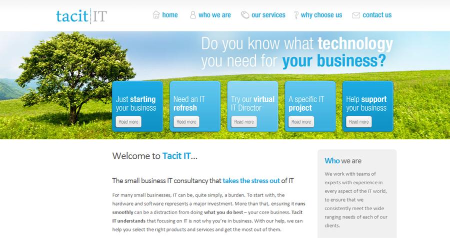 Tacit IT website homepage