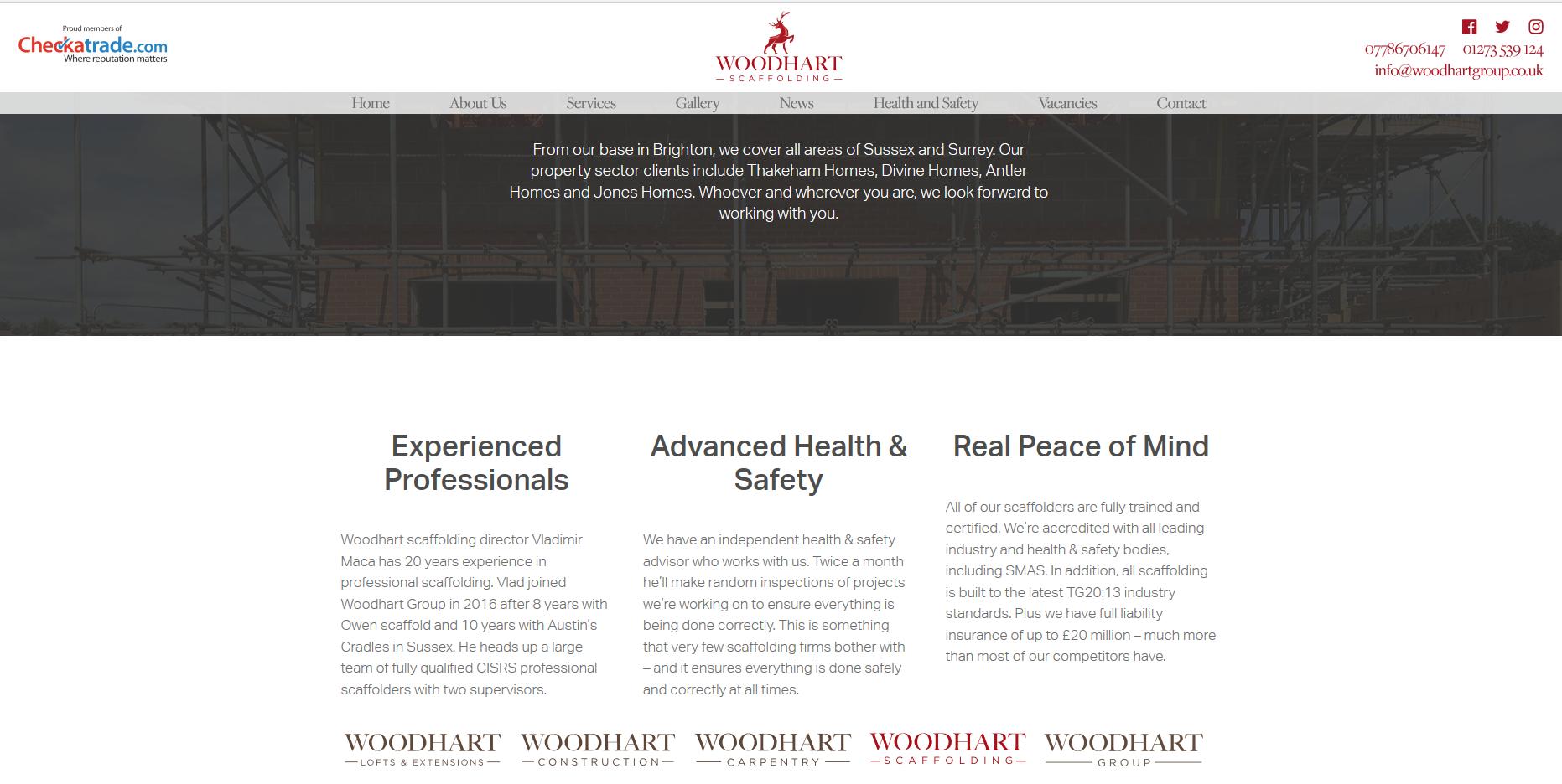 Woodhart Scaffolding web page