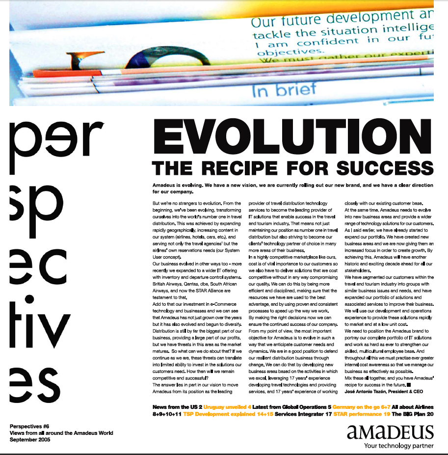 Amadeus newsletter page