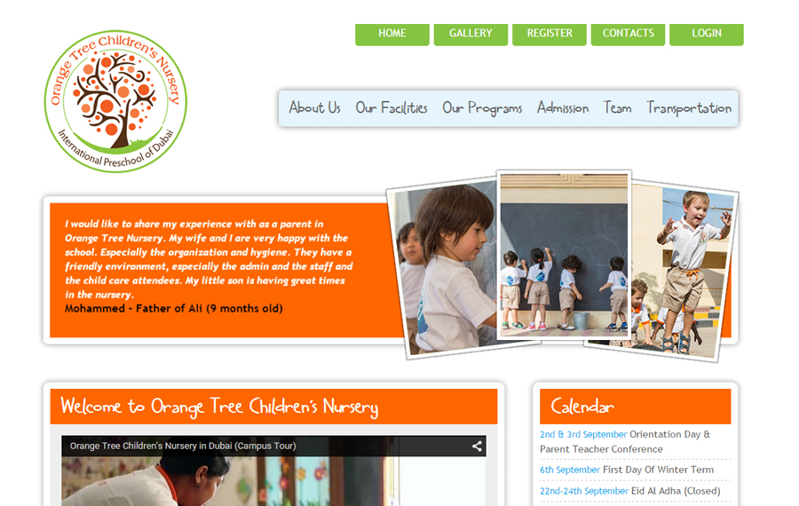 Orange Tree nursery website