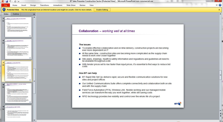 BT Construction PowerPoint slide