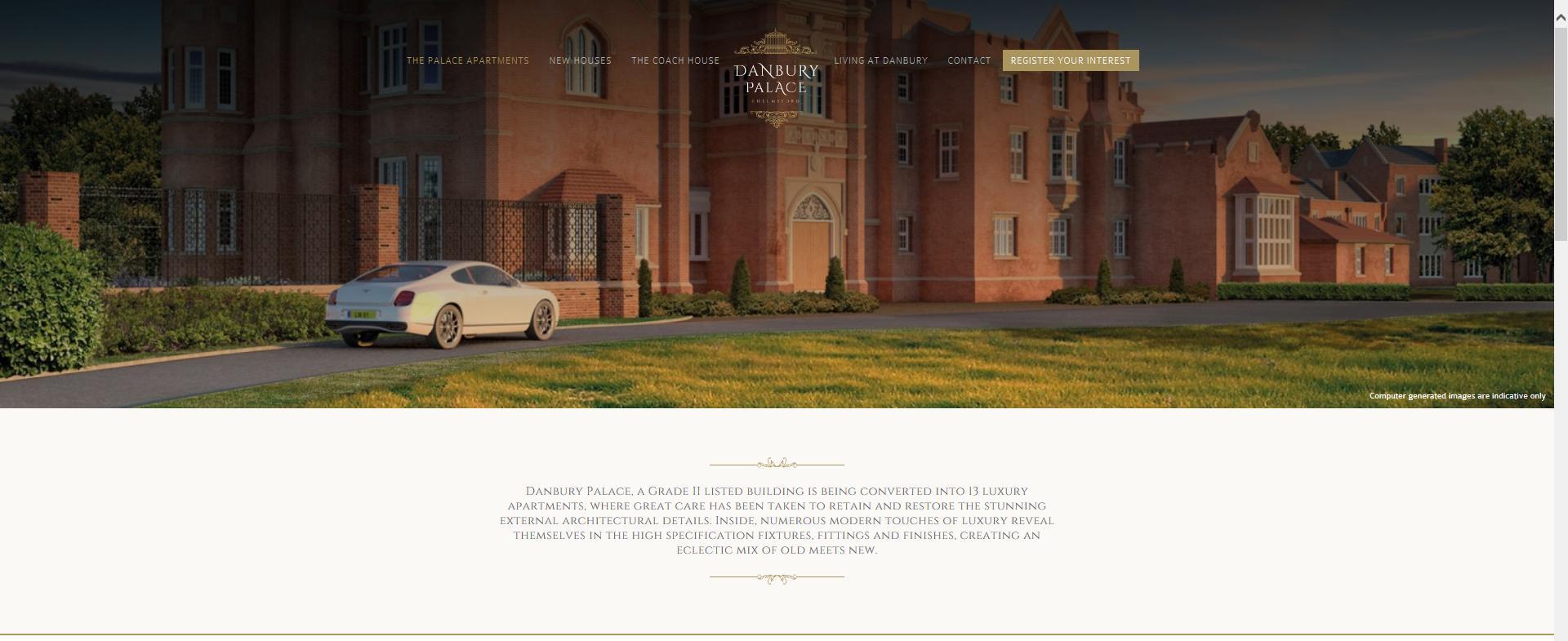 Danbury Palace development website