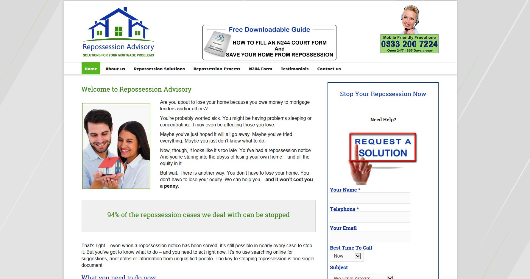 Repossession Advisory web page