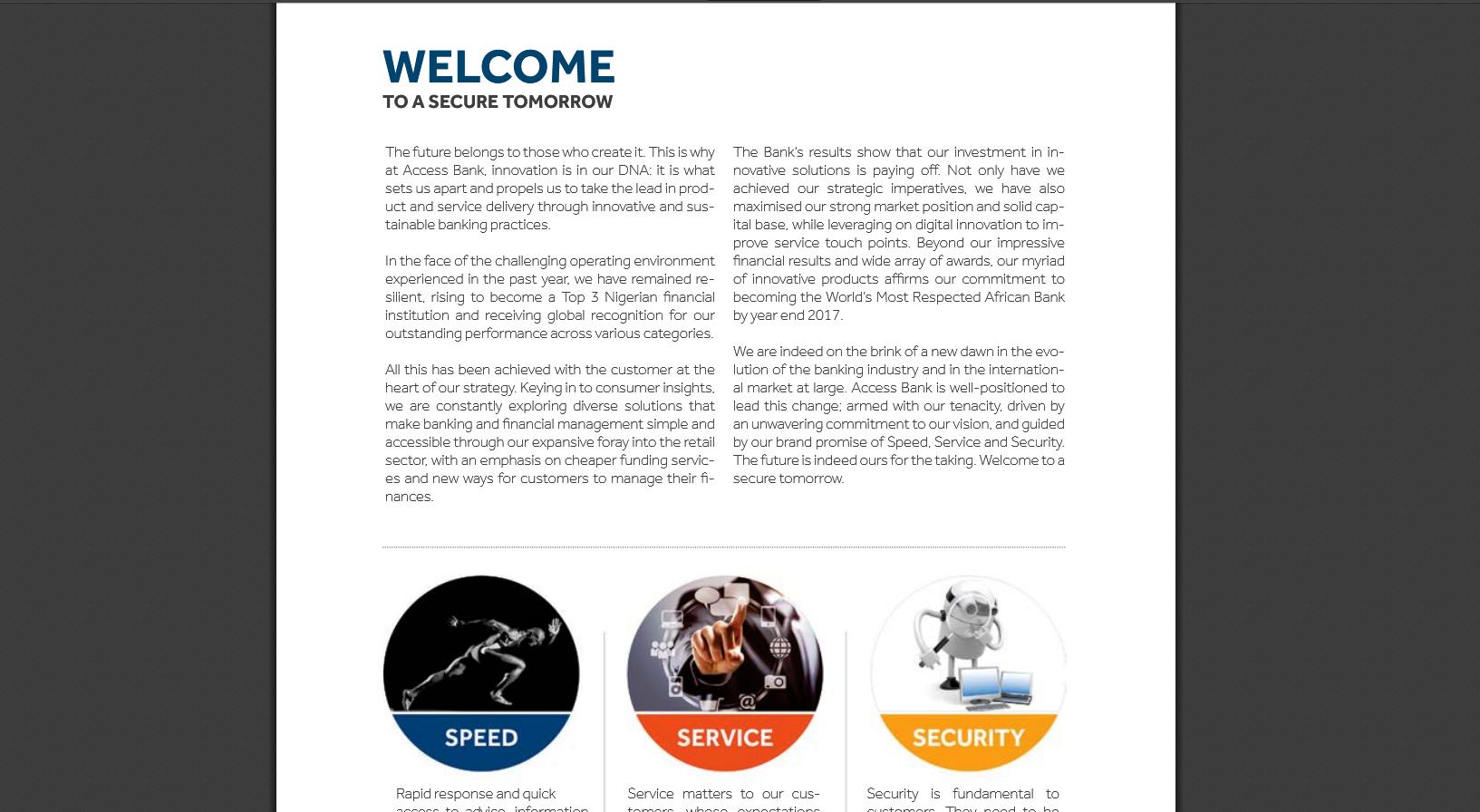 Access Bank Nigeria - annual report