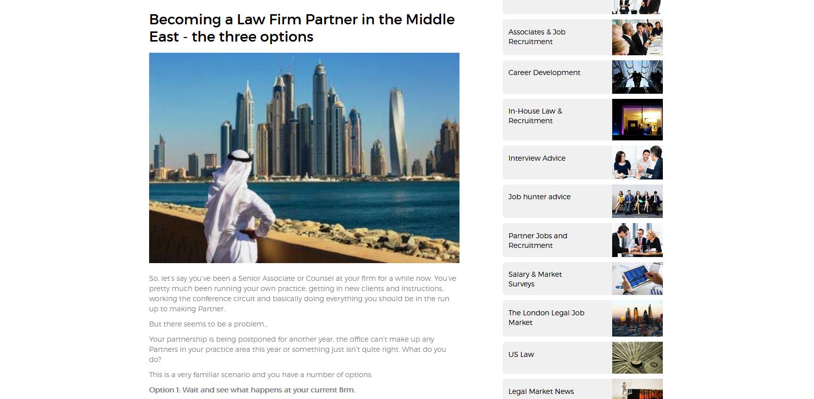 Legal recruitment website - blog post I