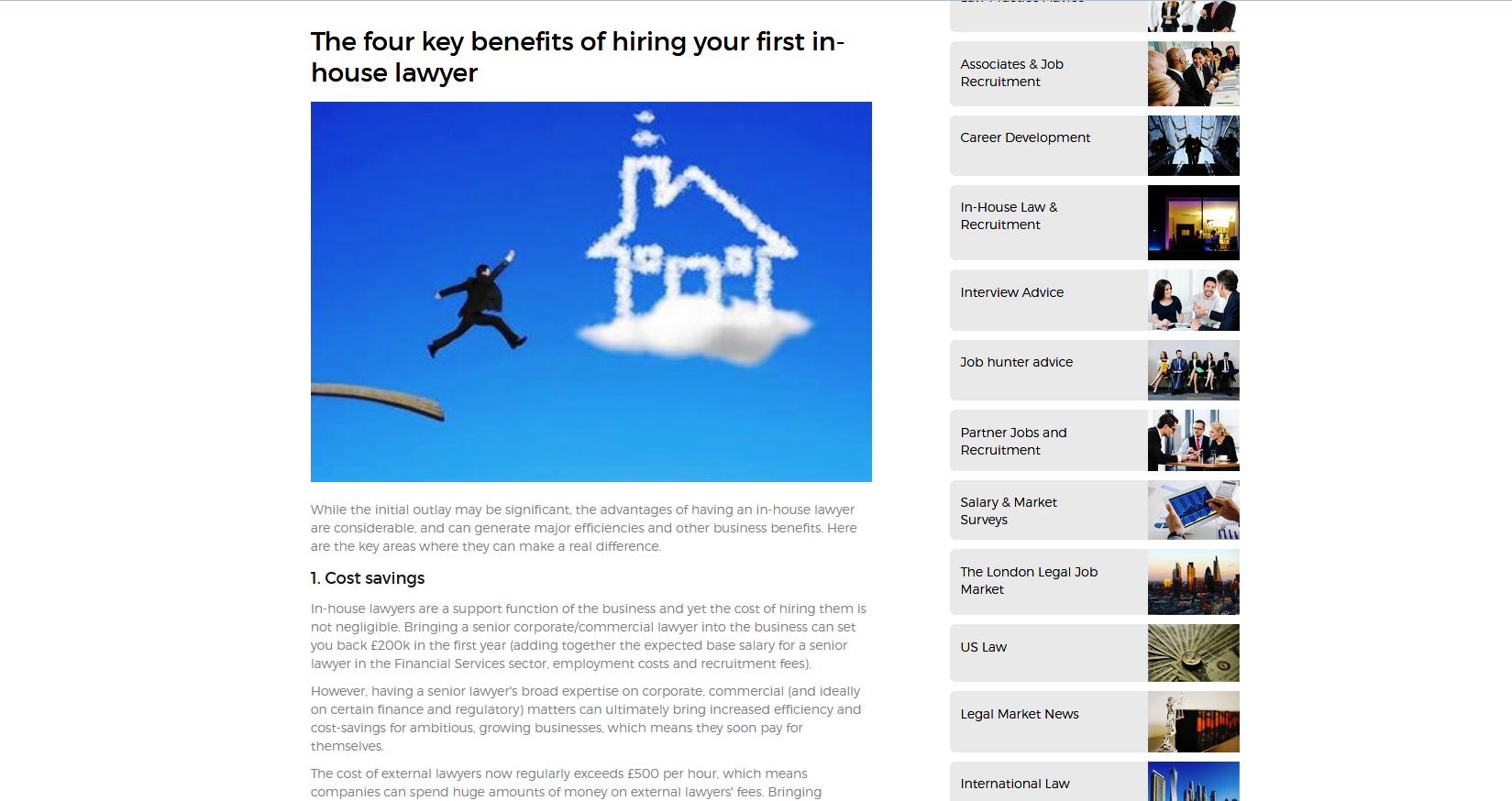 Legal recruitment website - blog post II
