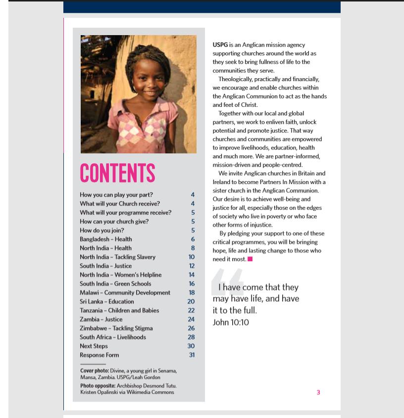 USPG charity brochure copy