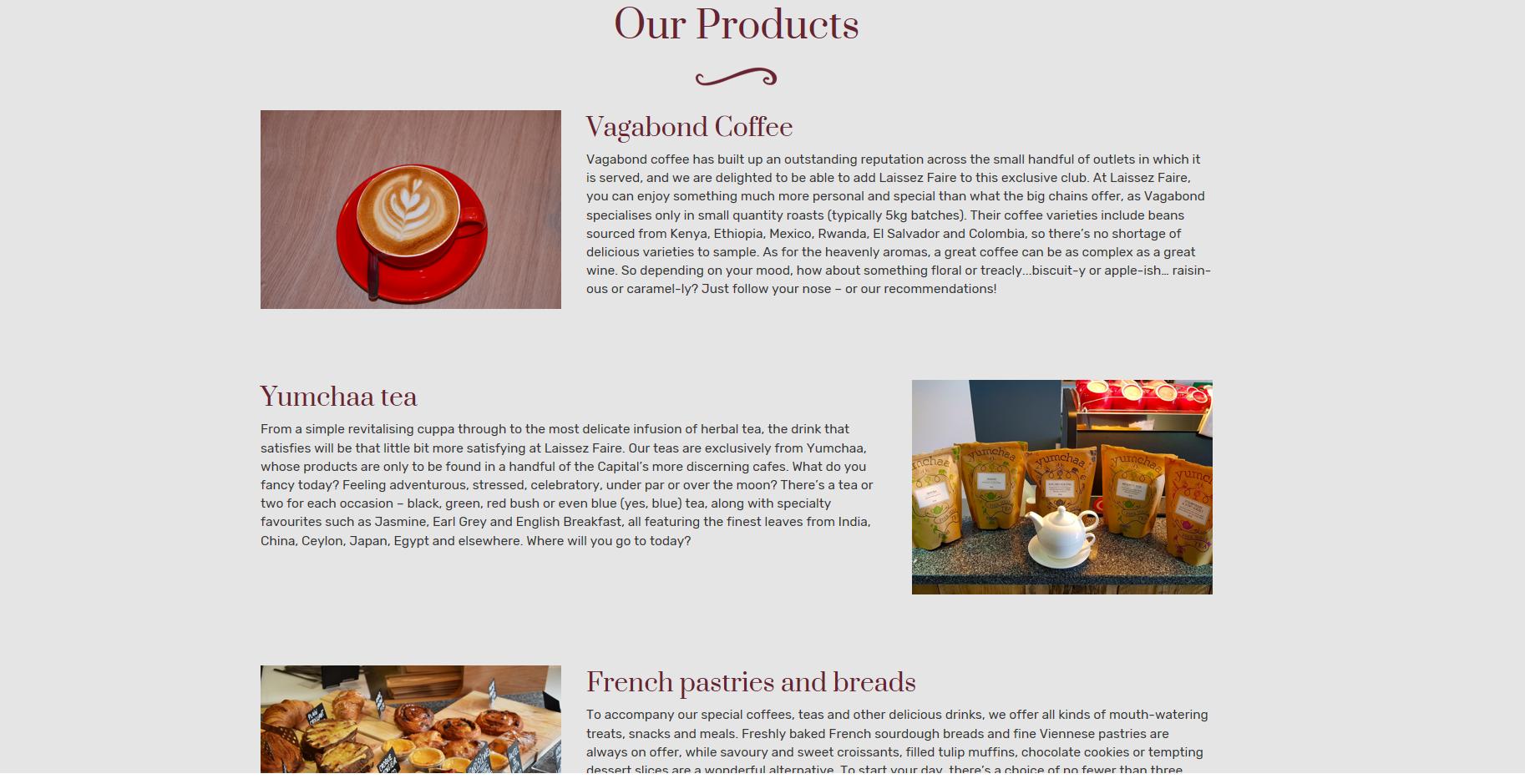 Laissez Faire Café Website