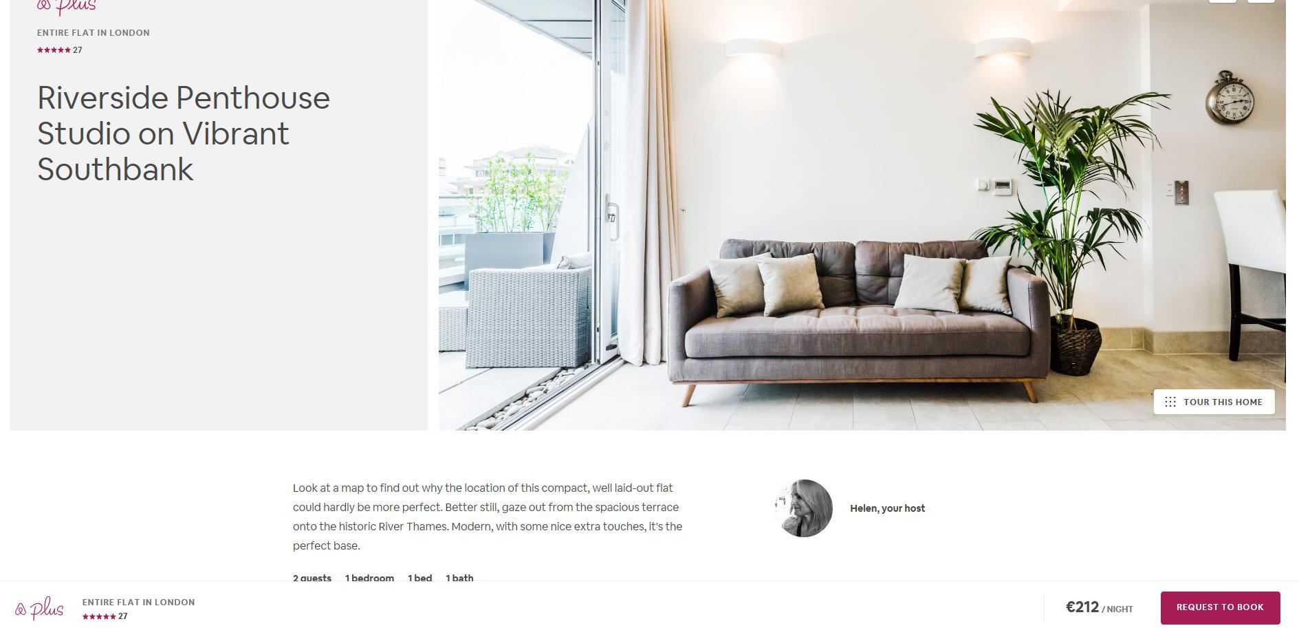 Airbnb London listing