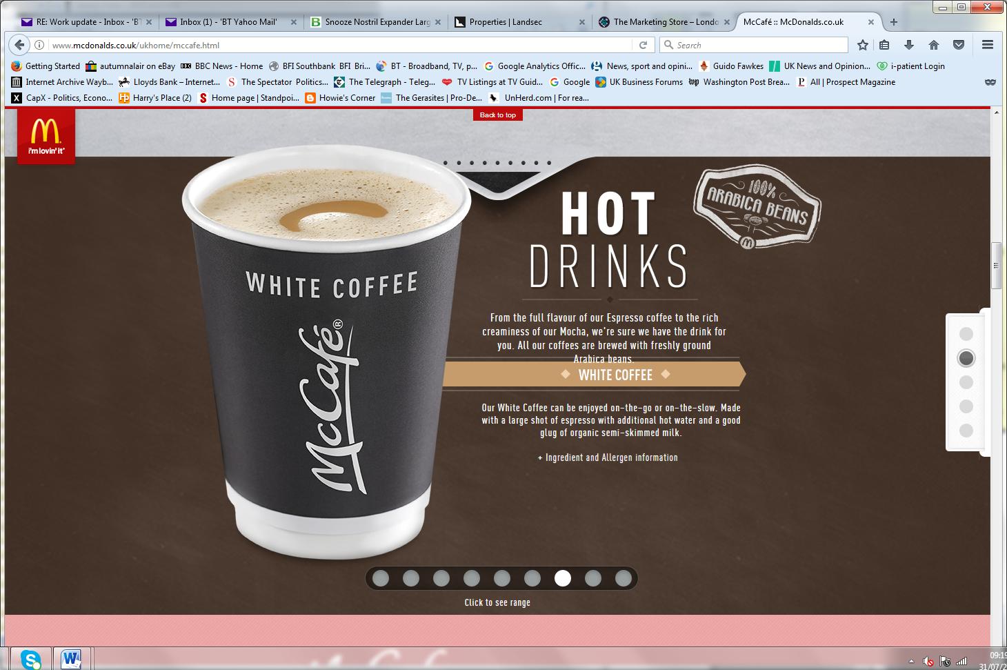 McDonalds web promotion page
