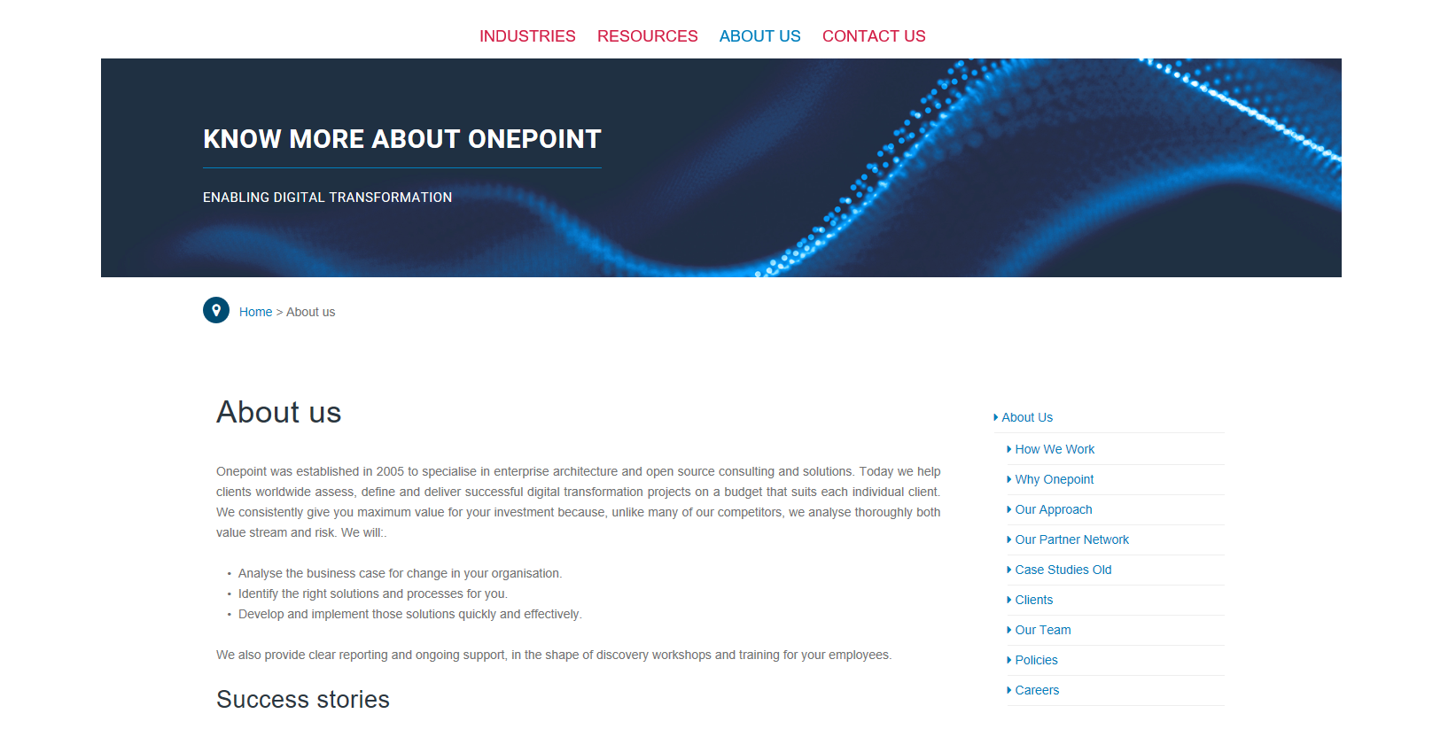 One Point web page