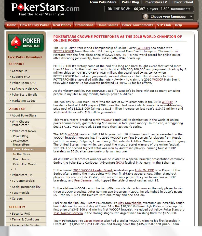 PokerStars digital press release
