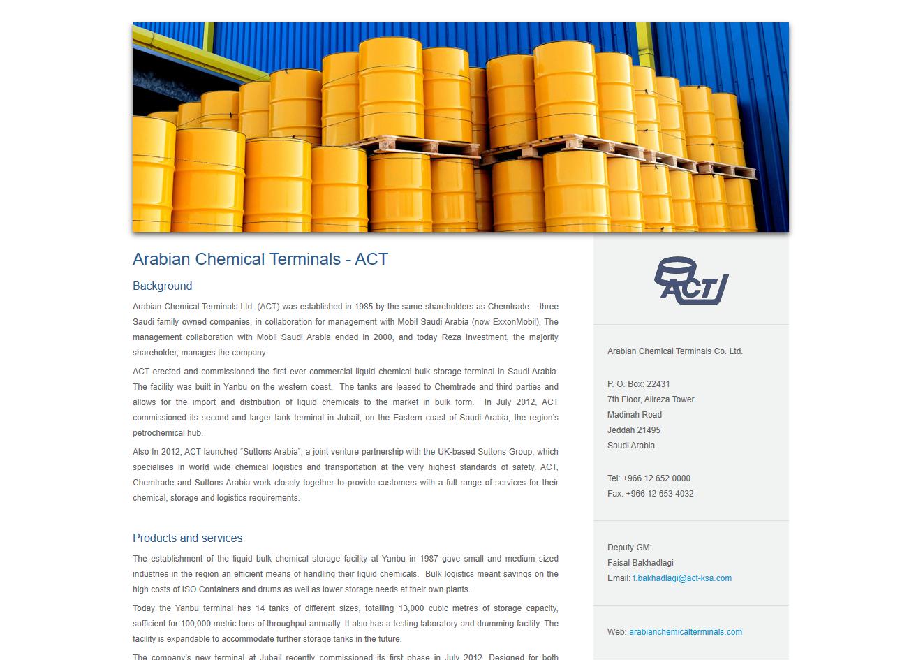 Arabian Chemical Terminals - web copy
