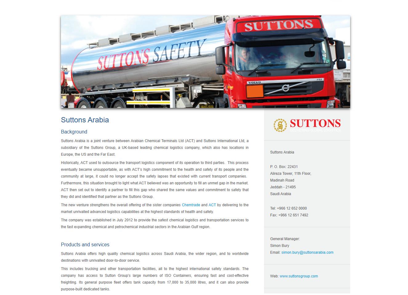 Suttons Arabia Logistics - web copy