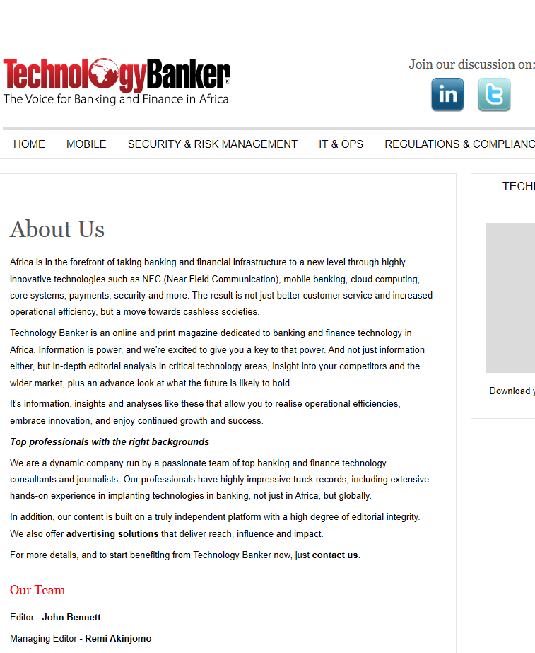 Technology Banker web copy