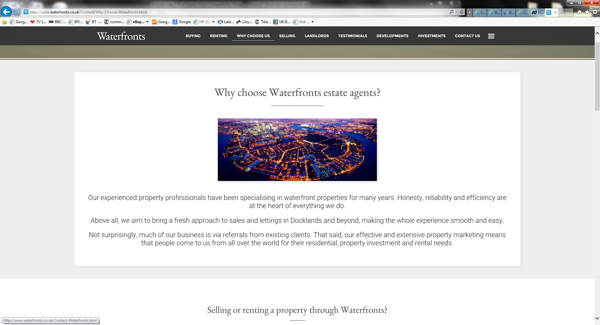 Waterfronts estate agents website