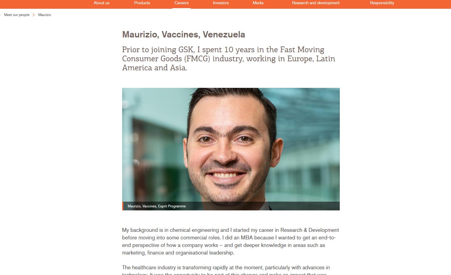 GSK Esprit Graduate Programme - Maurizio