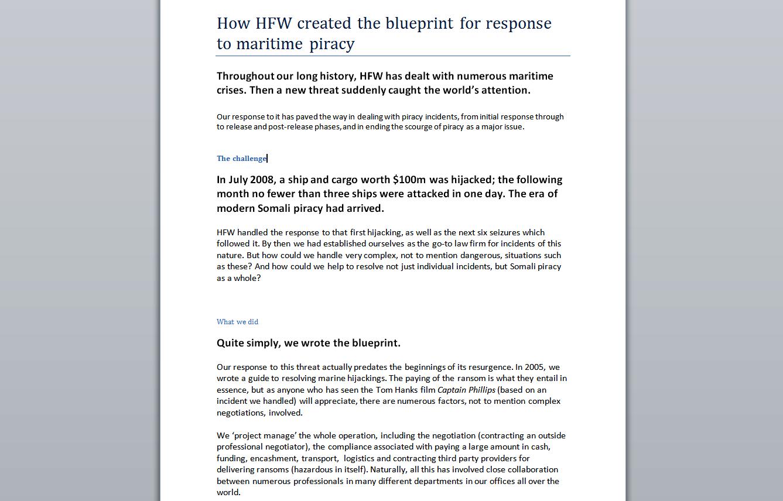 HFW Maritime Law Case Study
