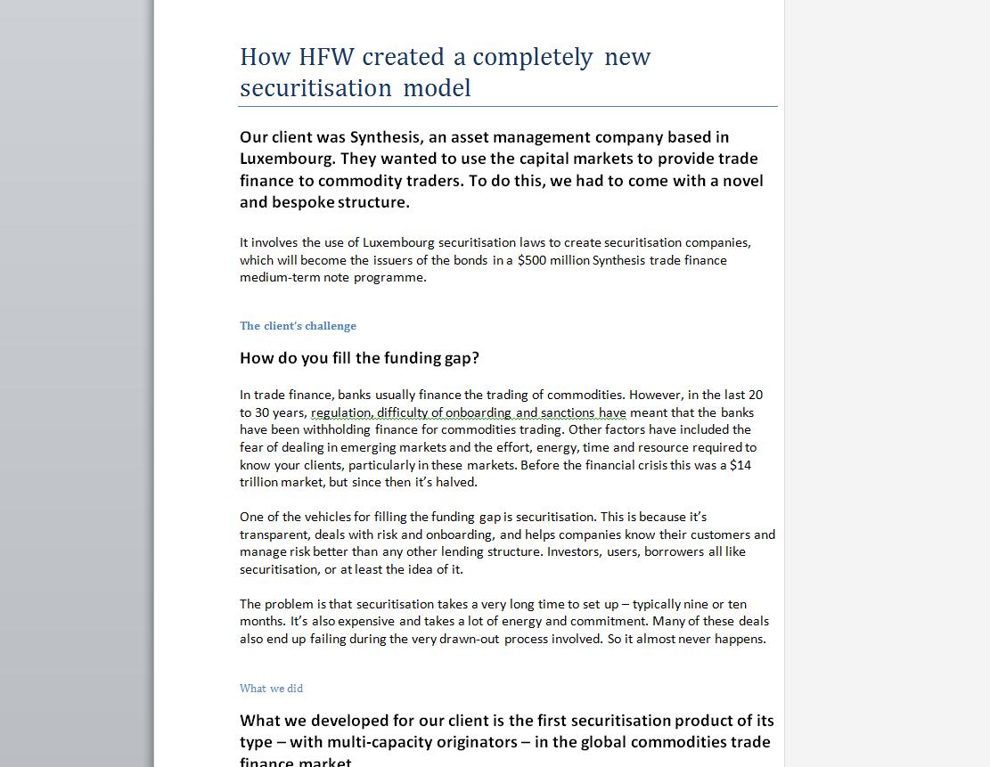 HFW Financial Law Case Study