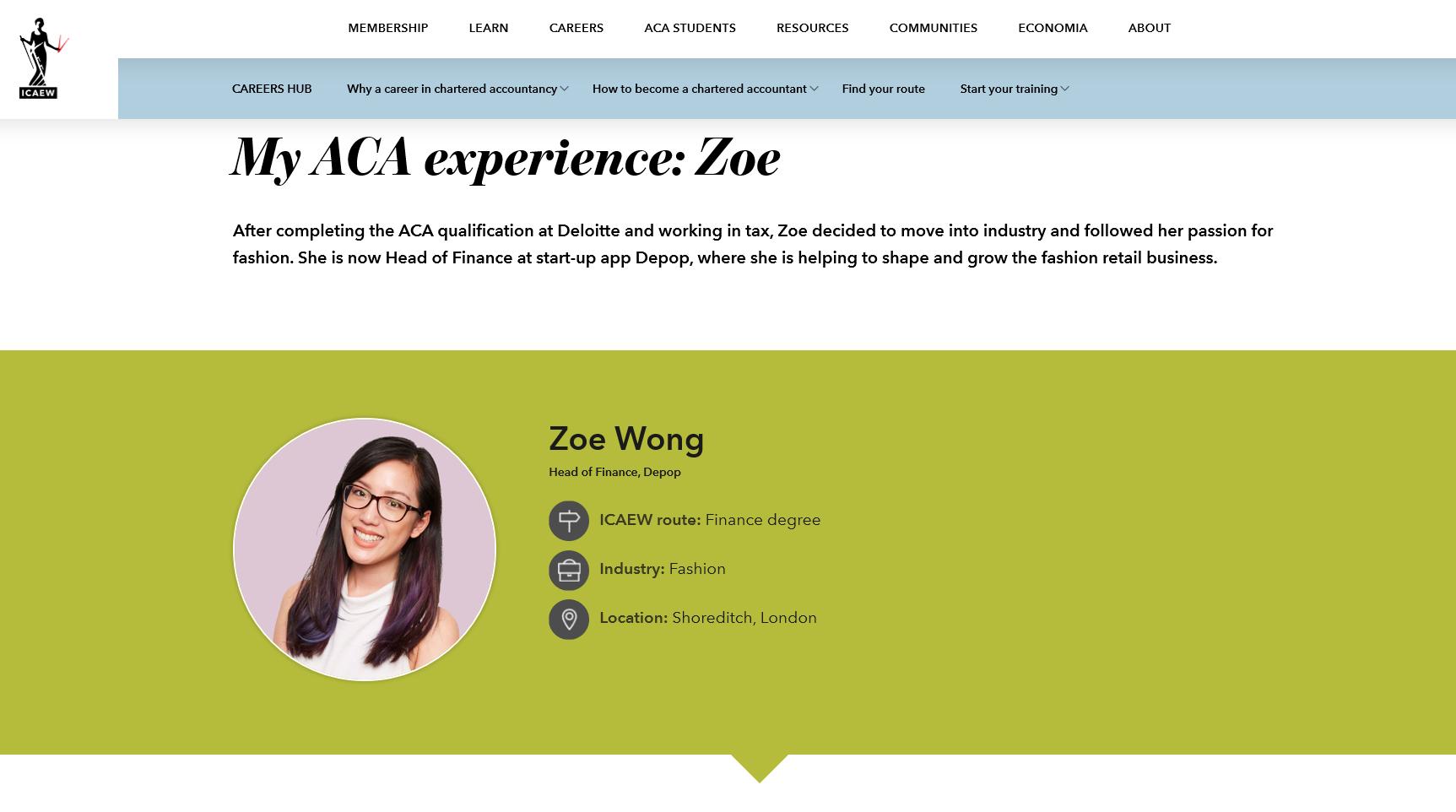 ICAEW - Zoe Wong Case Study
