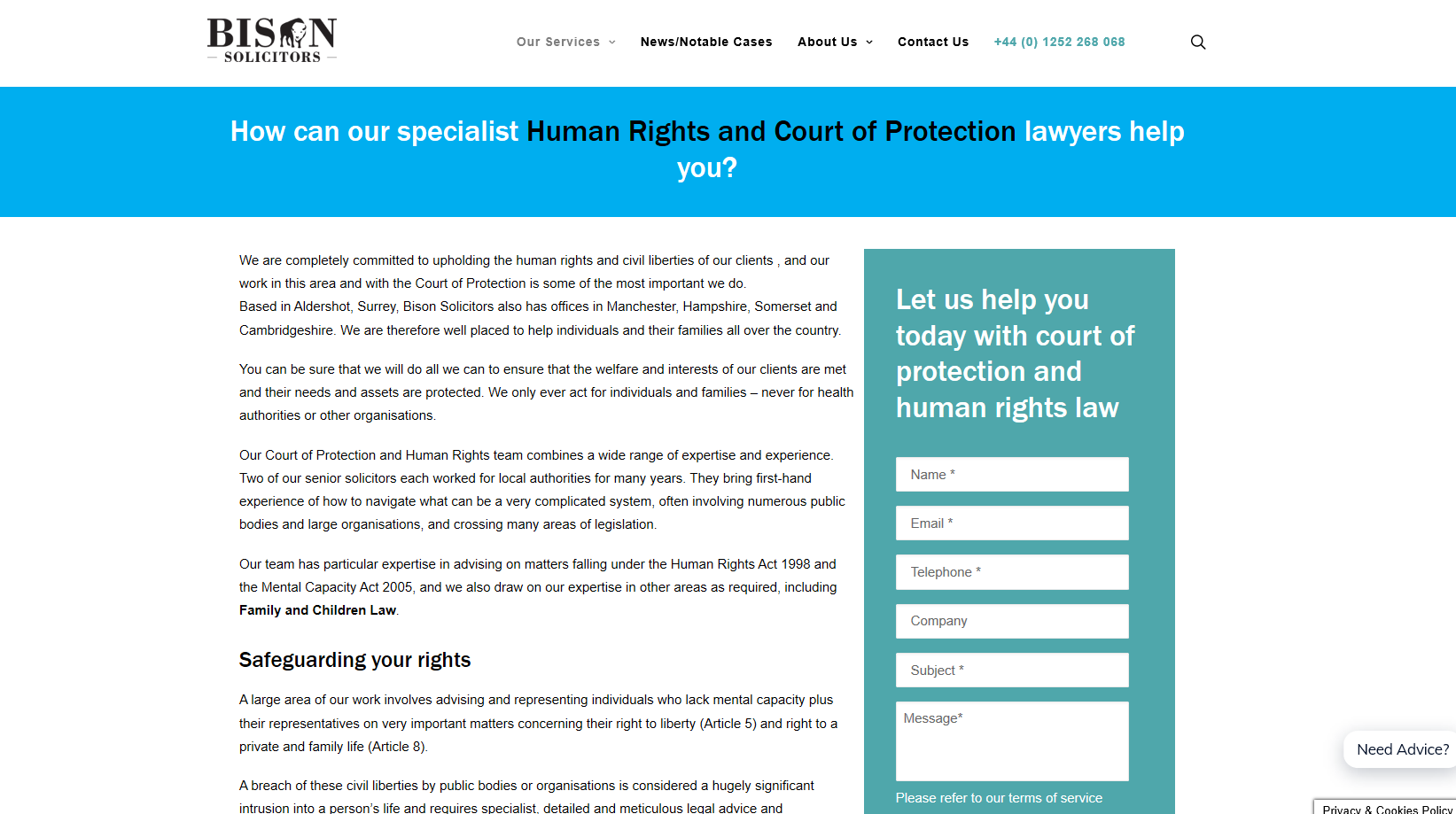 Bison Solicitors - immigration lawyers web page