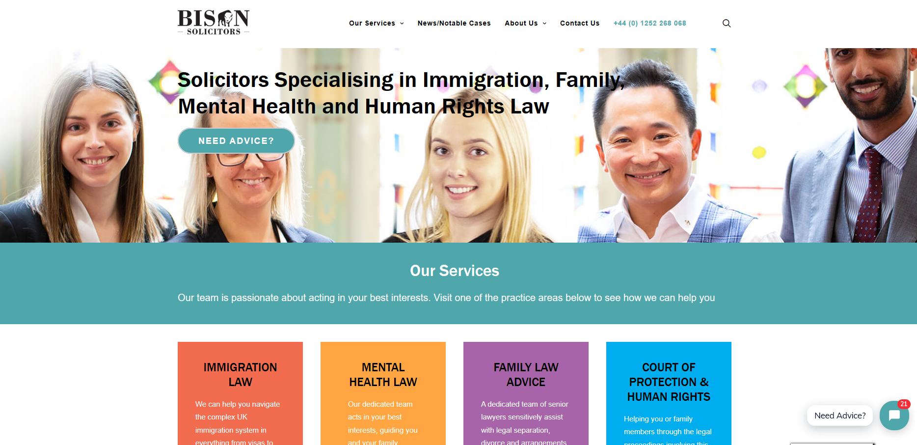 Bison Solicitors home page copy