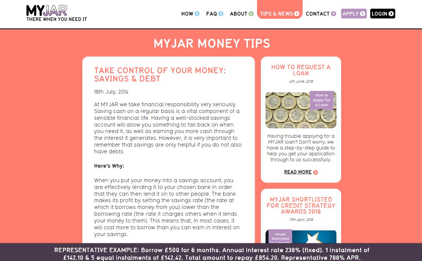MyJar web copy