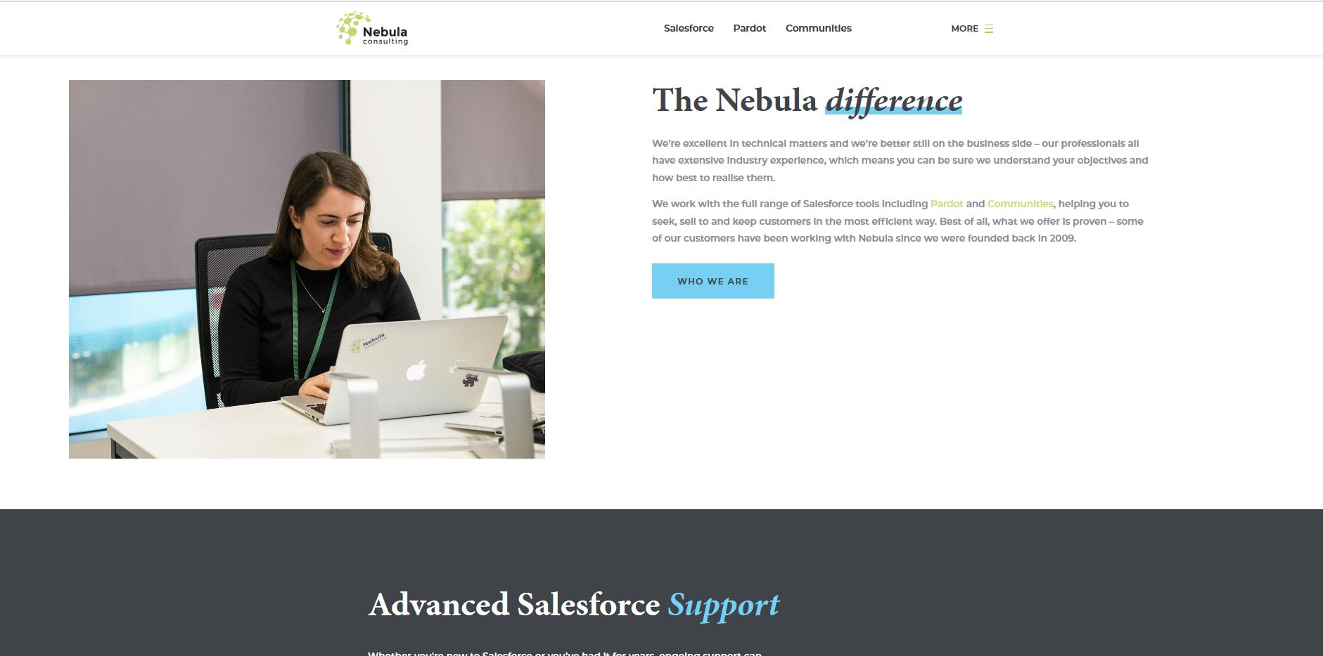 Nebula Consulting web page