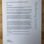 Marketing Society recruitment letter