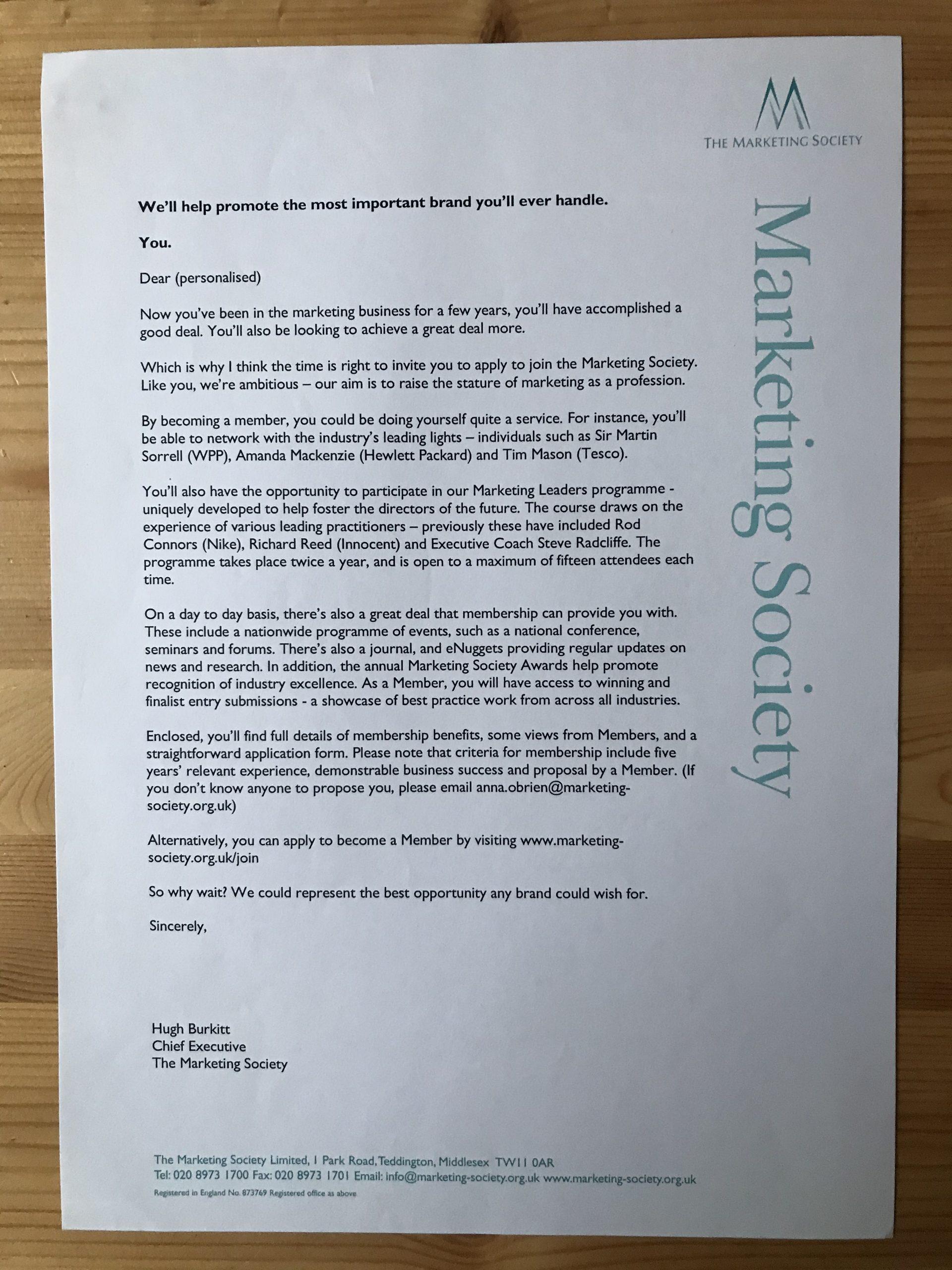 Marketing Society recruitment letter