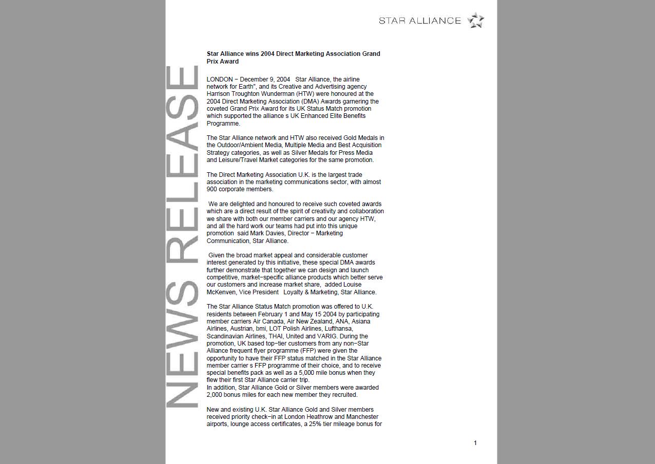 Star Alliance press release
