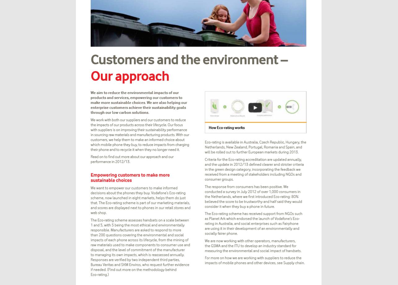 Vodafone sustainability report