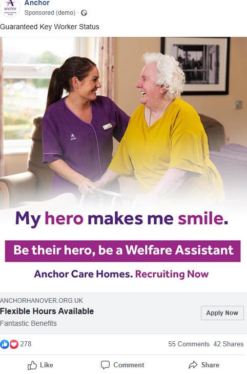 Anchor Hanover Facebook recruitment ad