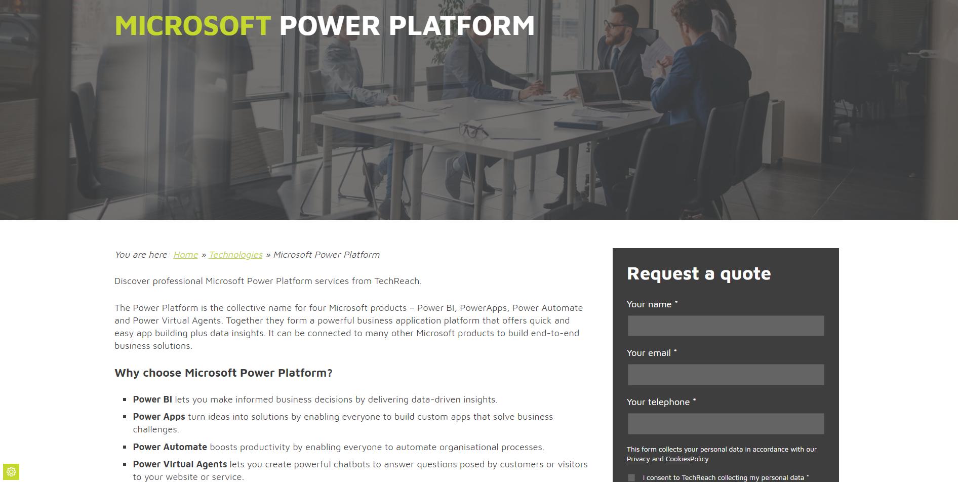 Power Platform web copy