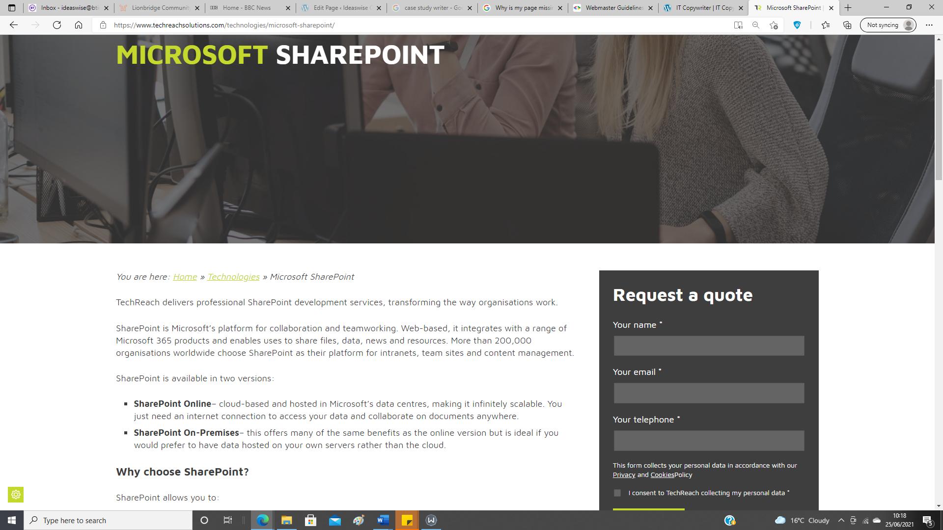 SharePoint web copy